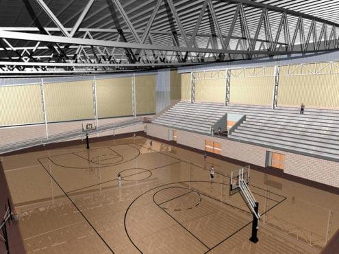 El edificio estará preparado para albergar encuentros de vóley y básquet en forma profesional, en una cancha principal de 30x40 metros, con gradas fijas