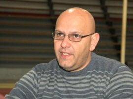 """Gabriel Colamarino durante el mano a mano con """"El Periodista"""""""