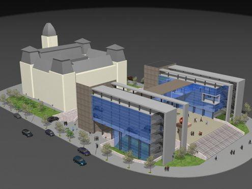 Sánchez volvió a plantear la idea de construir detrás del Palacio Municipal una nueva edificación que albergue y concentre la mayoría de las oficinas administrativas comunales
