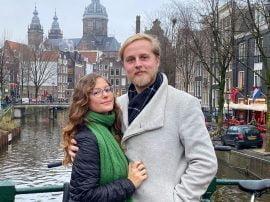 Nicole con su novio belga Jakke en Amsterdam